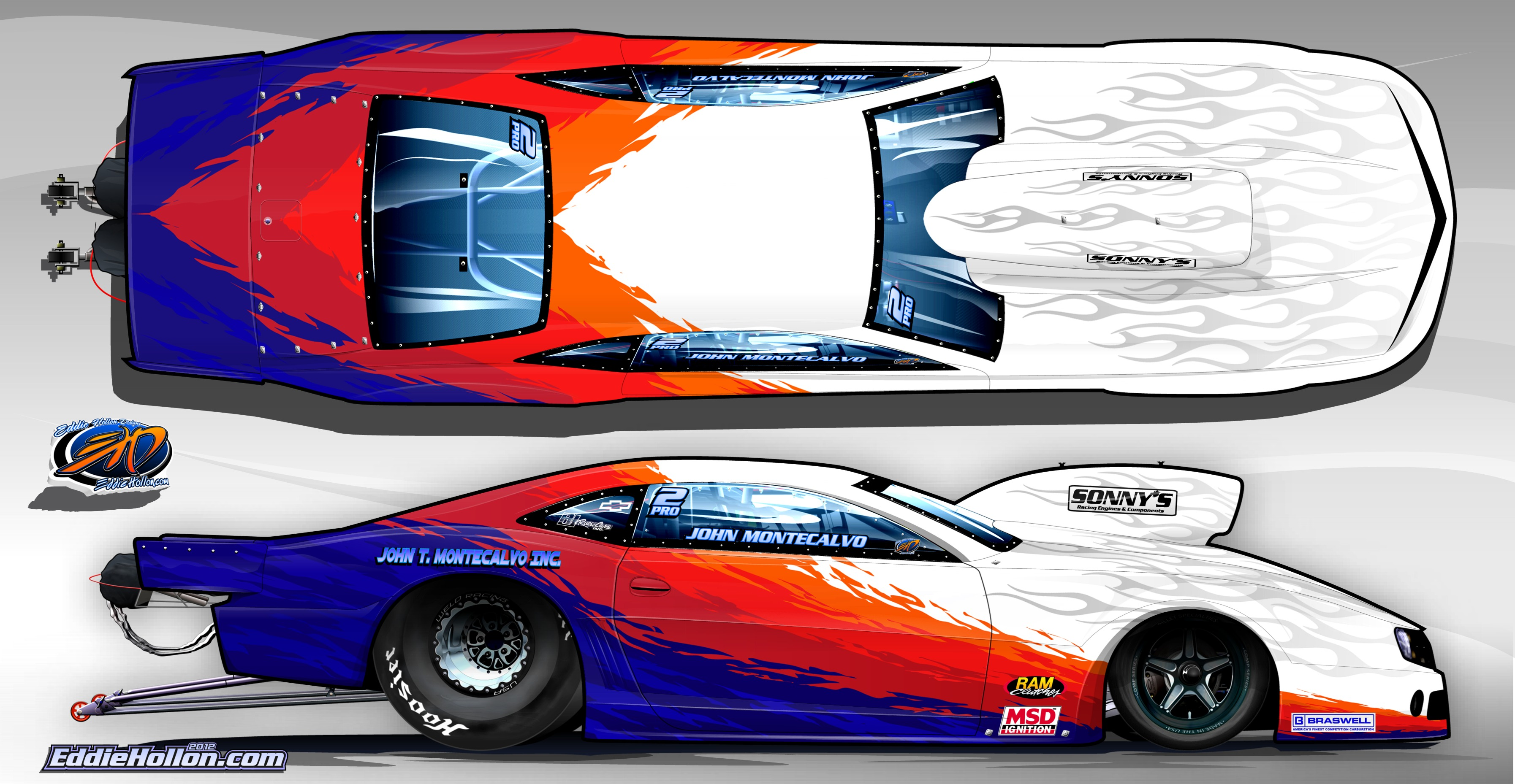 Drag race car paint schemes - Montecalvo Unveils New 2012 Camaro Paint Scheme